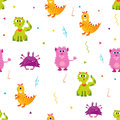 Bright pattern with cute monsters. Can be used for textile, paper wrapping, cover