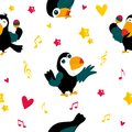 Bright pattern with funny cartoon toucans