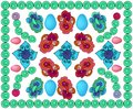 Bright patterned background with eggs , with circles, with colors and different elements