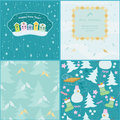 Bright patterns with fir house and snow Royalty Free Stock Images