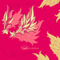 Bright pink invitation in oriental styl abstract flower outline style Royalty Free Stock Photo