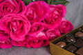 Bright Pink Roses and Gourmet Chocolates on Gray Tulle Background Royalty Free Stock Photo