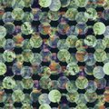 Bright polka dot abstract geometrical circles grunge colorful splashes texture watercolor seamless pattern design in soft green Royalty Free Stock Photo