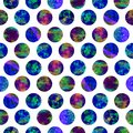 Bright polka dot abstract grunge colorful splashes texture watercolor seamless pattern design in blue Royalty Free Stock Photo