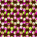 Bright polka dot abstract grunge colorful splashes texture watercolor seamless pattern design in emerald green, pink Royalty Free Stock Photo