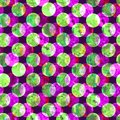 Bright polka dot abstract grunge colorful splashes texture watercolor seamless pattern design in green, pink, purple Royalty Free Stock Photo