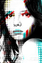 Bright poster beautiful girl in pop-art style. Royalty Free Stock Photo