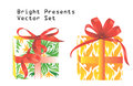 Bright presents set two boxes illustration isolated over white background Royalty Free Stock Images