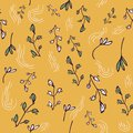 Bright Print with yellow hand drawing Background . Seamless Pattern with doodle Flowers and Leaves .Texture for