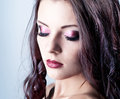 Bright purple eye evening make-up Stock Photography