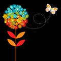 Bright rainbow coloured flower pretty butterfly Royalty Free Stock Photos