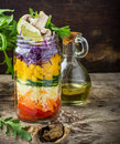 Bright rainbow salad  of tomatoes, carrots, pepper Royalty Free Stock Photo