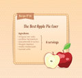 Bright recipe card with cute cartoon apple vector illustration Royalty Free Stock Photo