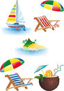 Bright recreation set summer recreations and travel objects vector Stock Photography