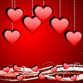 Bright red background with hearts Royalty Free Stock Photo