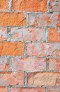 Bright red brick wall texture macro closeup, old aged detailed rough grunge cracked textured bricks copy space background vertical Royalty Free Stock Photo