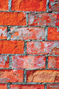 Bright red brick wall texture macro closeup, old detailed rough grunge cracked textured bricks copy space background, grungy Royalty Free Stock Photo