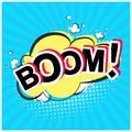 Bright red comic speech bubble with Boom text