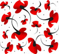 Bright red passionate valentine poppy flower pattern on white background. Symbol of wild beauty, love, passion, pleasure.