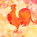 Bright red polygon illustration of a rooster. Happy Chinese New Year cards. Perfect for decoration designs festive