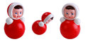 Bright red roly poly toy on the white Stock Photo