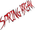 Bright red spring break words hand drawn spell Stock Images