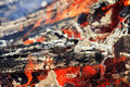 Bright red tongues of flame and glowing white hot coals Royalty Free Stock Photography