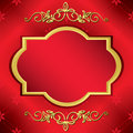 Bright red vector card with center gold frame Royalty Free Stock Image
