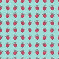 Bright retro seamless pattern with berries raspberries on blue background can be used for cards gifts paper textile prints Royalty Free Stock Photos