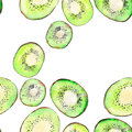 Bright ripe tasty delicious beautiful tropical summer desert kiwi fruit chopped and sliced pattern watercolor hand illustration Royalty Free Stock Photo