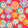 Bright seamless pattern with big flowers Stock Photo