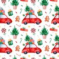 Bright seamless pattern with Christmas tree,candy,red retro car,gift and more