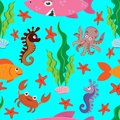 Bright seamless pattern of colored figures of marine life: large pink shark, fish, crab, octopus, seahorse, green algae