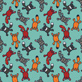 Bright seamless pattern with cute cartoon cats