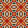 Bright seamless pattern with floral ornament in Christmas traditional colors. Ethnic and tribal motifs. Royalty Free Stock Photo