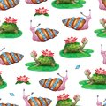 Bright seamless pattern with funny cartoon animals. Hand-drawn watercolor turtles and snails with flowers. White background for