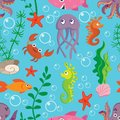 Bright seamless pattern with marine life: jellyfish, crab, fish, octopus , shark on blue background