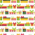 Bright seamless pattern with multi-colored gift boxes on a white background. Great for wrapping paper, gift boxes. Flat Royalty Free Stock Photo