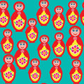 Bright seamless pattern with a russian matryoshka doll for a national design covers tissue packaging utensils and other purposes Royalty Free Stock Photography