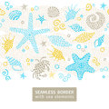 Bright seamless pattern with sea elements. Royalty Free Stock Photo