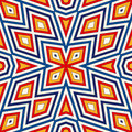 Bright seamless pattern with symmetric geometric ornament. Colorful abstract background. Ethnic and tribal motifs.