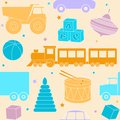 Bright seamless pattern with toys kids and stars Royalty Free Stock Photo