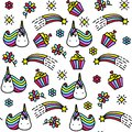Bright seamless pattern with unicorn, cupcake, rainbow and flowers.