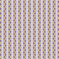 Bright seamless pattern of vertical yellow and purple zigzags, light lavender background Royalty Free Stock Photo
