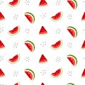 Bright seamless pattern with watermelon slices and seeds. Royalty Free Stock Photo
