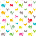 Bright seamless roosters pattern. Royalty Free Stock Photo