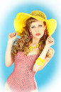 Bright seductive charming pin-up girl. Stock Image