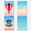 Bright set with hat hotair balloon and abstract polygonal background in the sky for use in design for card poster banner placard Stock Photos