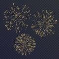 Bright set of three elements, fireworks on dark background. Vector illustration