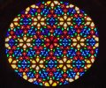 Bright shining round stained glass window Royalty Free Stock Photo